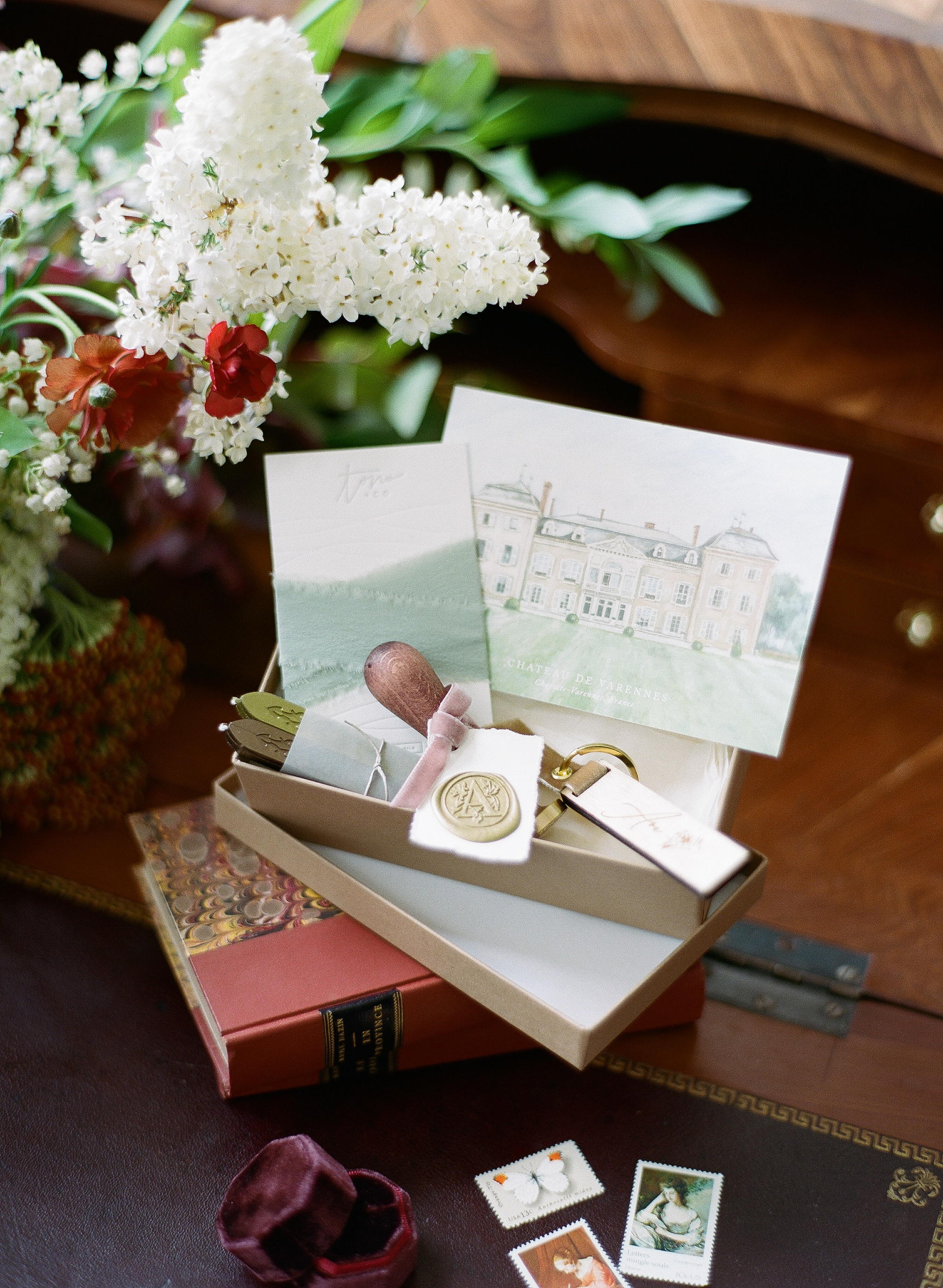 A wedding stationery set custom printed with the Chateau de Varennes; Sylvie Gil Photography