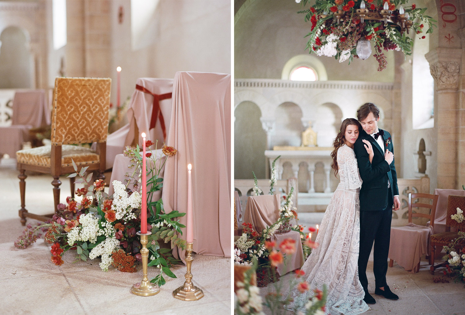 Burgundy and cream florals decorate a wedding ceremony at Chateau de Varennes; Sylvie Gil Photography