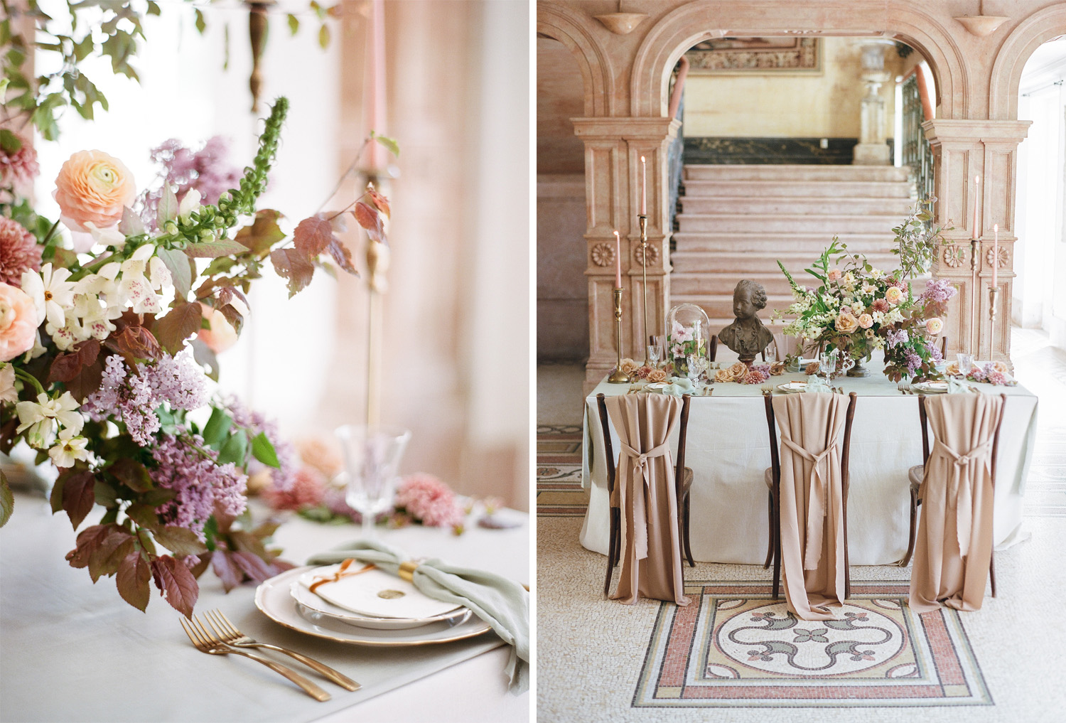 A muted pastel reception table on the tile mosaic floors of Chateau de Varennes; Sylvie Gil Photography