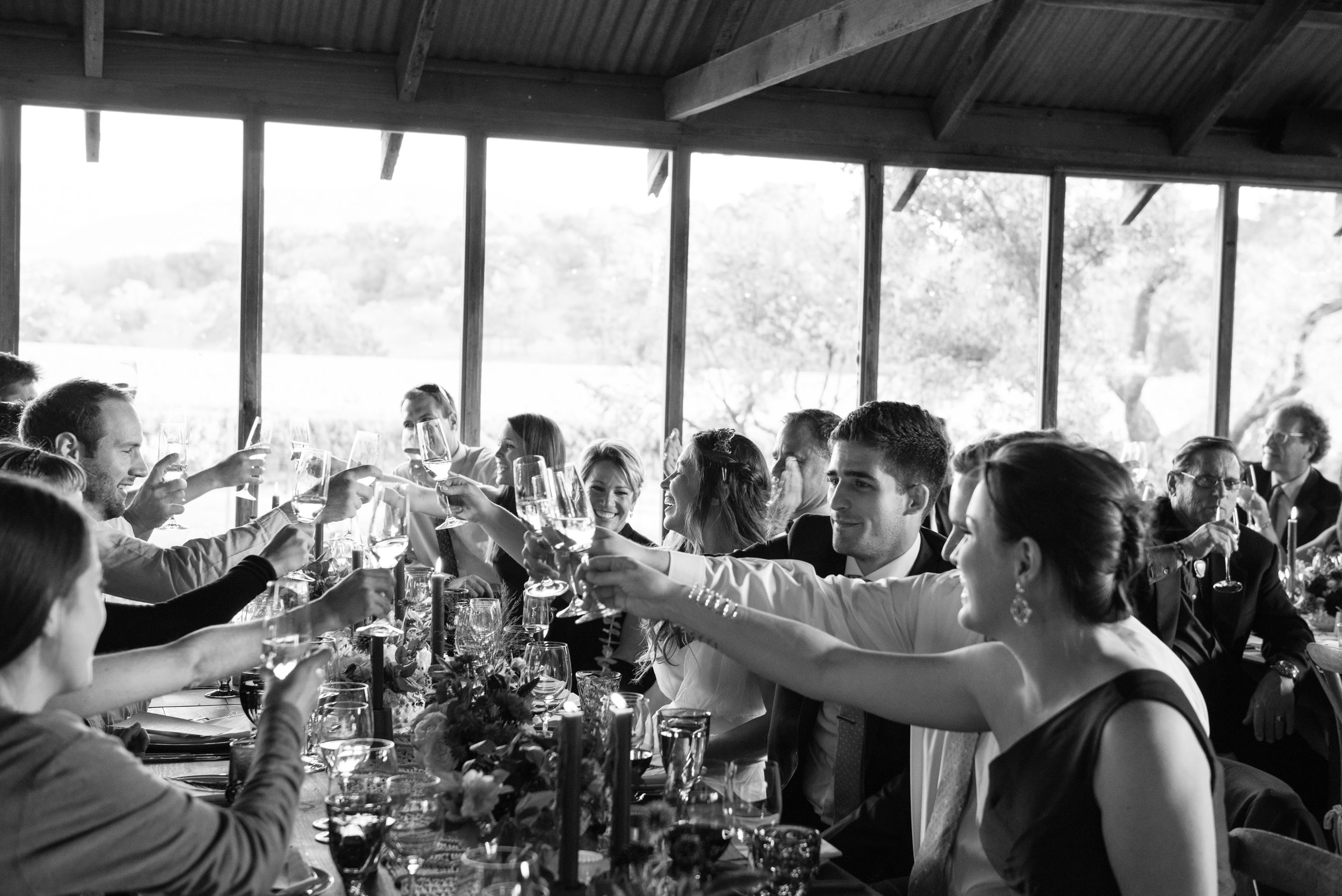 Bride and groom toast at a wedding reception in Napa; Sylvie Gil Photography