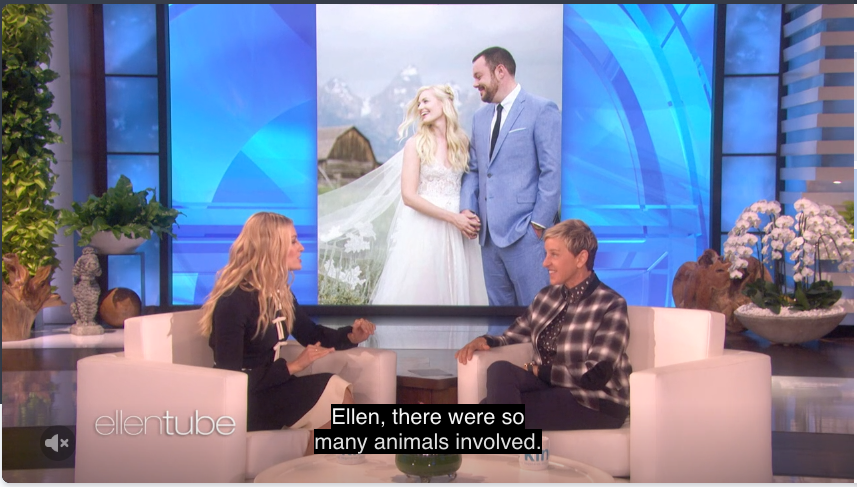 Beth Behrs wedding images on Ellen Degeneres show!