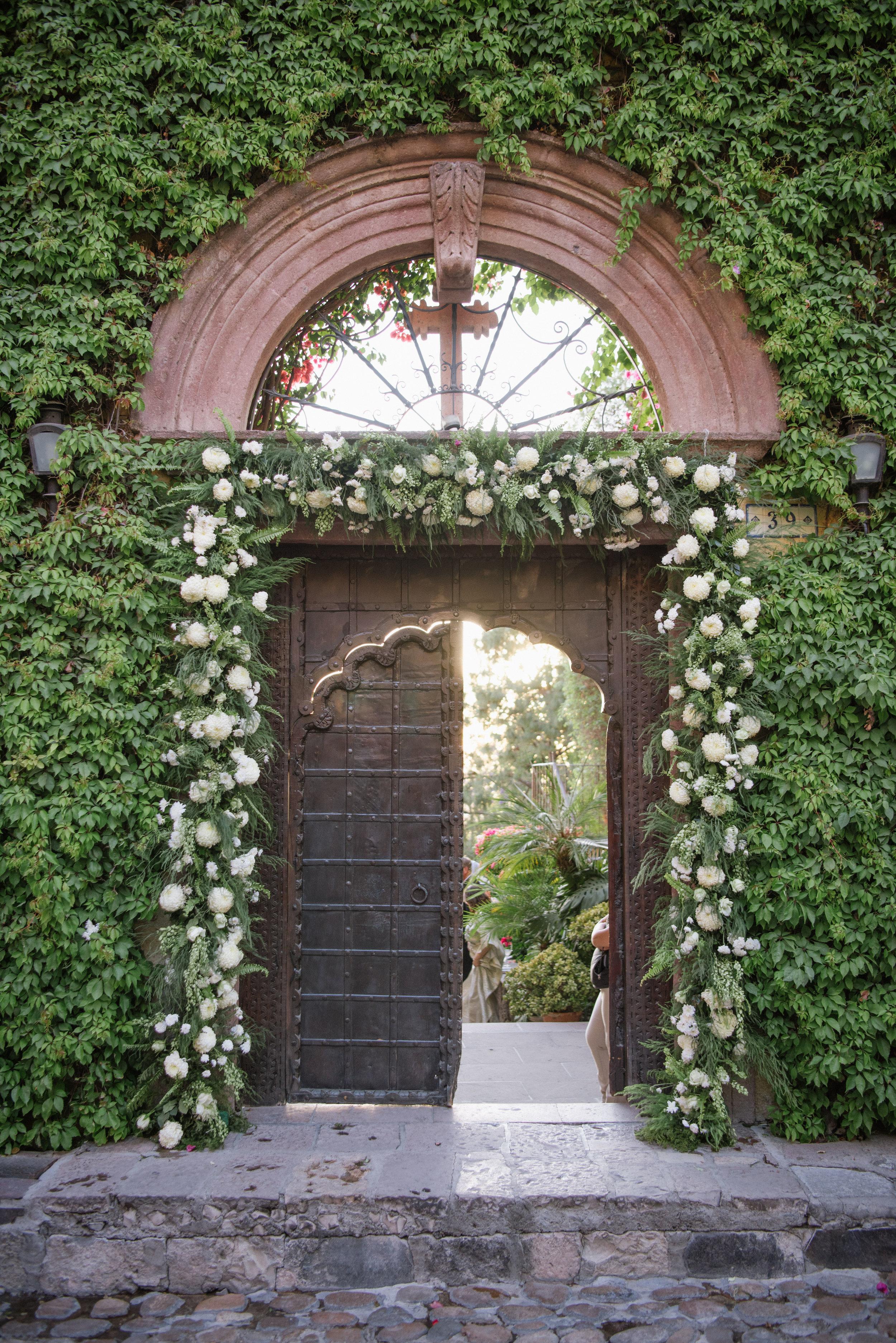 antique wooden door in San Miguel de Allende, Mexico wedding; Sylvie Gil Photography Martha Stewart