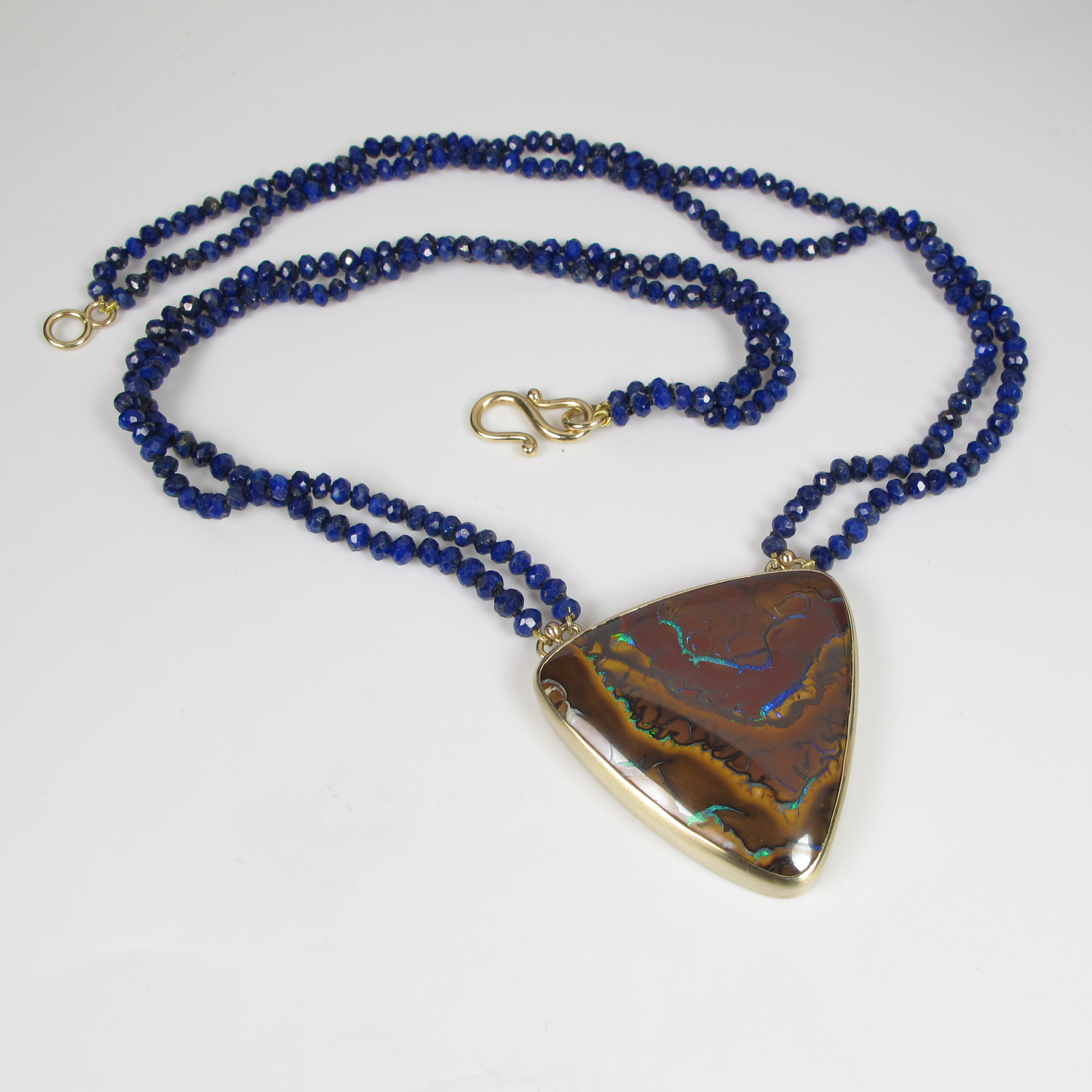 Boulder opal and lapis lazuli bead necklace