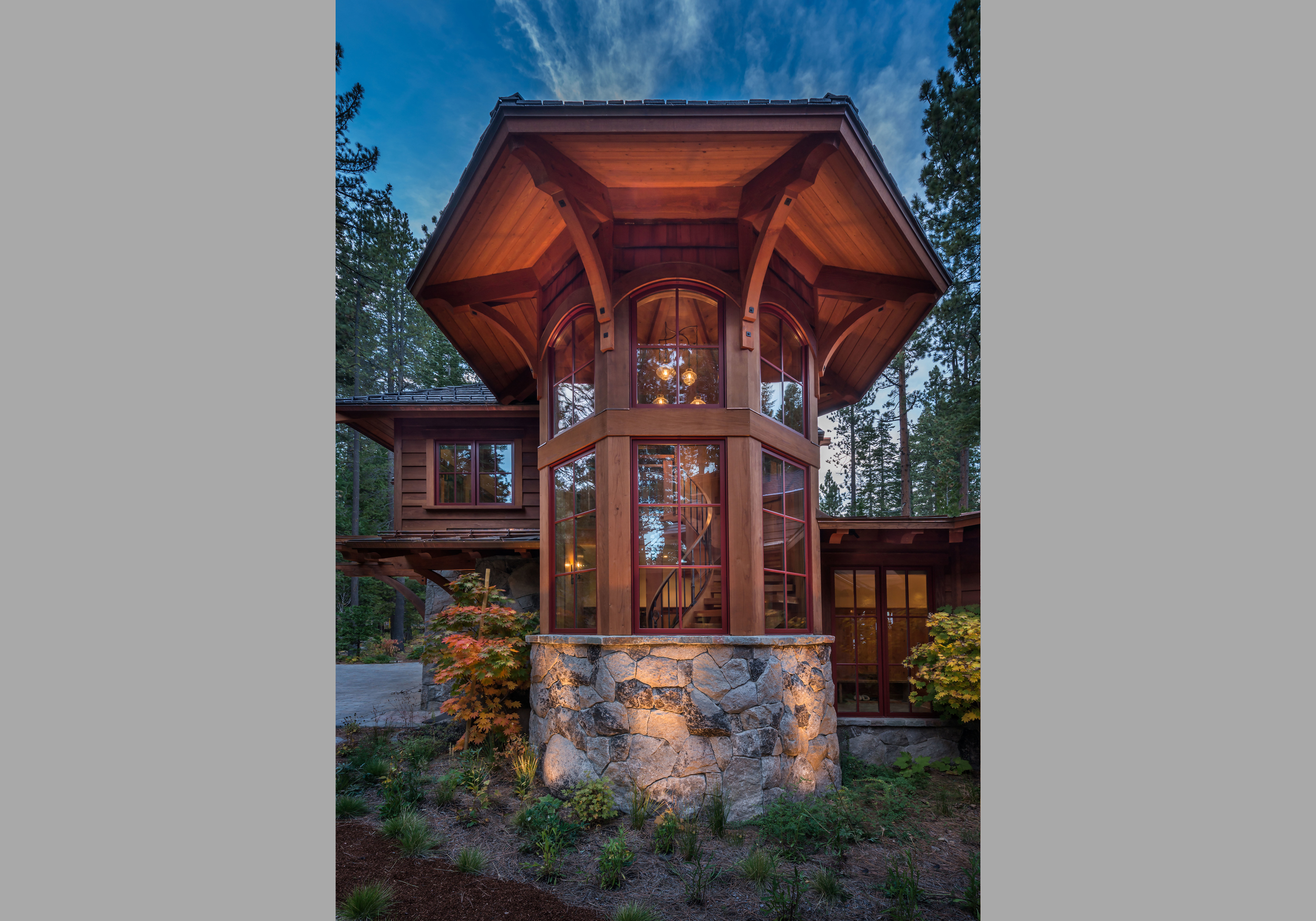 Contractor: Jim Morrison Construction   Photography: Vance Fox Square Footage: 4,345 sf Features: Inglenook, Exhibition Wine Room, Turret Staircase, Natural Creek with Bridge, Lake Front Terrace + Firepit bedrooms: 4 bathrooms: 4.5