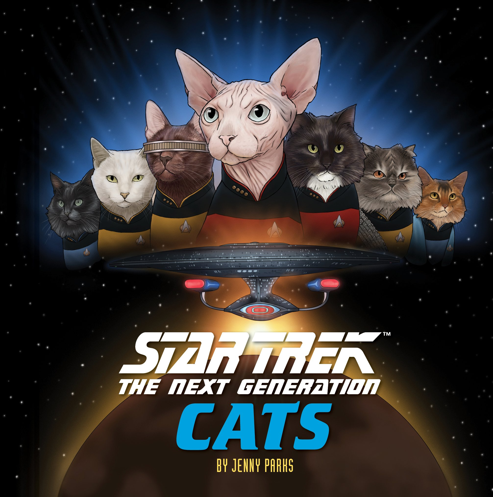 My second book, Star Trek: The Next Generation CATS is out now!  Available in bookstores and through these online stores:  For a signed copy, order here! -->    http://www.jennyparks.com/shop/star-trek-  tng-cats   Amazon:  https://www.amazon.com/Star-Trek-Next-Generation-Cats/dp/1452167621/   B&N:  https://www.barnesandnoble.com/w/star-trek-jenny-parks/1126794175   IndieBound:  https://www.indiebound.org/book/9781452167626       CANADA:    https://www.amazon.ca/Star-Trek-Next-Generation-Cats/dp/1452167621/    https://www.chapters.indigo.ca/en-ca/books/star-trek-the-next-generation/9781452167626-item.html    http://www.mcnallyrobinson.com/9781452167626/jenny-parks/star-trek       UK:    https://www.amazon.co.uk/Star-Trek-Next-Generation-Cats/dp/1452167621/      The cats are back in their continuing mission: to boldly go where no one has gone before. This companion to the bestselling  Star Trek Cats  brings the many adventures of  Star Trek: The Next Generation  to life in a faithfully feline homage to the hit series. From encounters with the Borg to adventures on the holodeck, Captain Picard and the rest of the  U.S.S. Enterprise  NCC-1701-D crew are reimagined as cats with lovingly detailed and eyebrow-raising scenes from throughout the award-winning series, perfect for  Star Trek  fans across the Galaxy.  TM & © 2018 CBS Studios Inc. STAR TREK and related marks and logos are trademarks of CBS Studios Inc. All Rights Reserved.