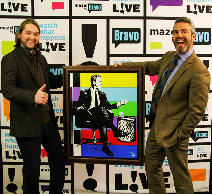 """Tripp's delivery of his portrait for Andy Cohen, talk show host of Bravo's """"Watch What Happens Live ."""" Andy was so impressed that it hangs permanently at the studio."""
