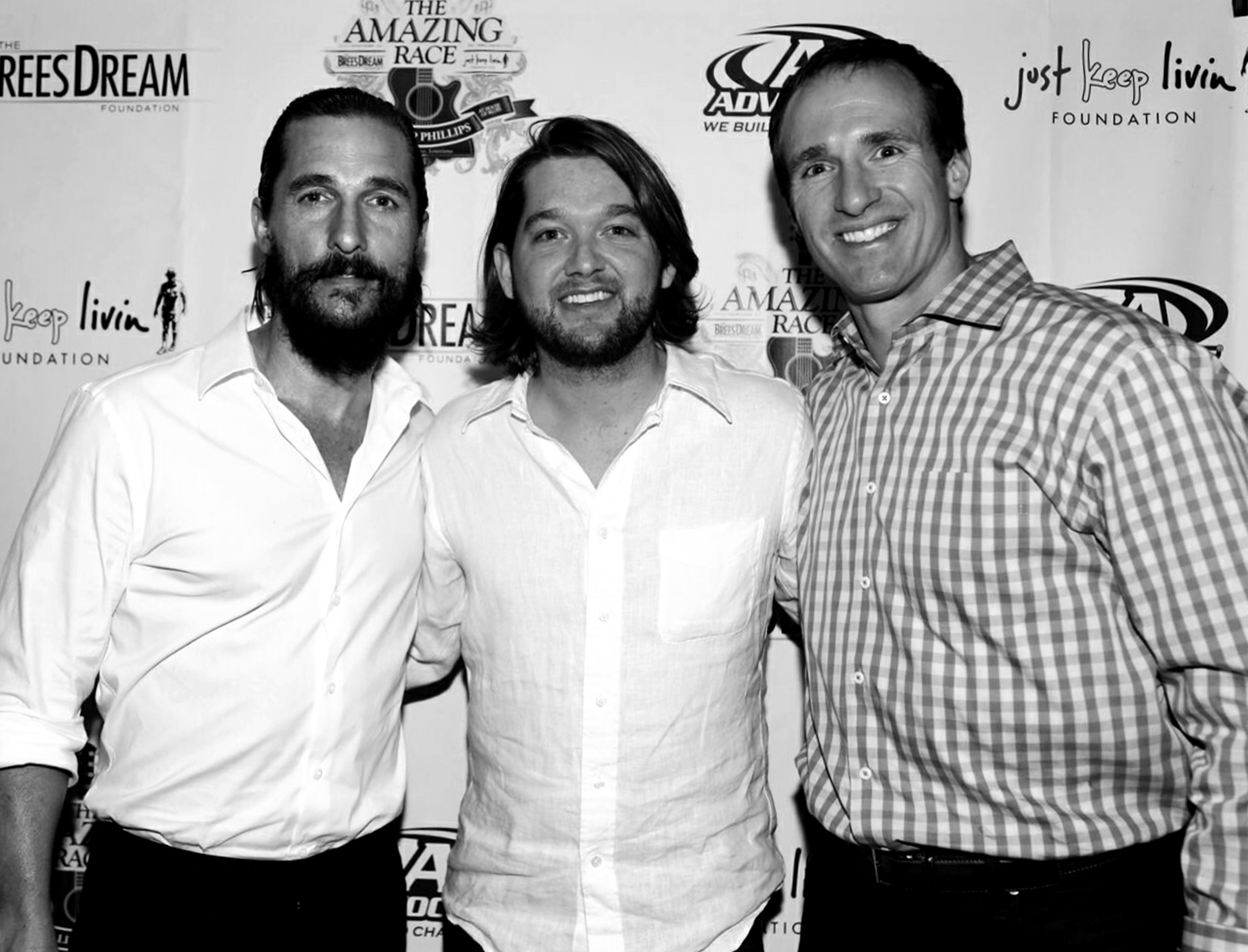 Matthew Mcconaughey, Drew Brees, and Tripp before The Amazing Race Event and Fundraiser.