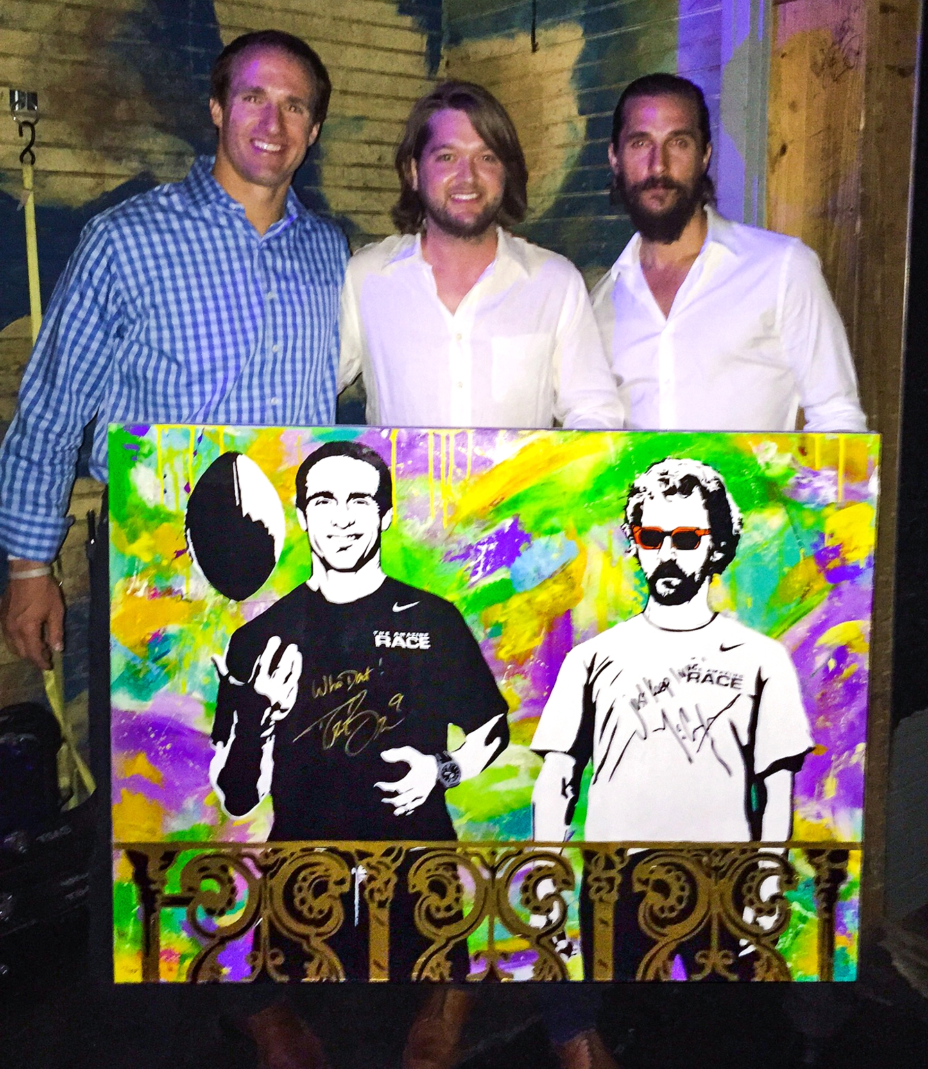 Matthew McConaughey and Drew Bress sign, along with pose, behind Tripp's custom painting. The portrait was donated to help raise funds for both their charities; The Bree's Dream and Just Keep Livin Foundation. Special thanks to the Super Service Challenge!