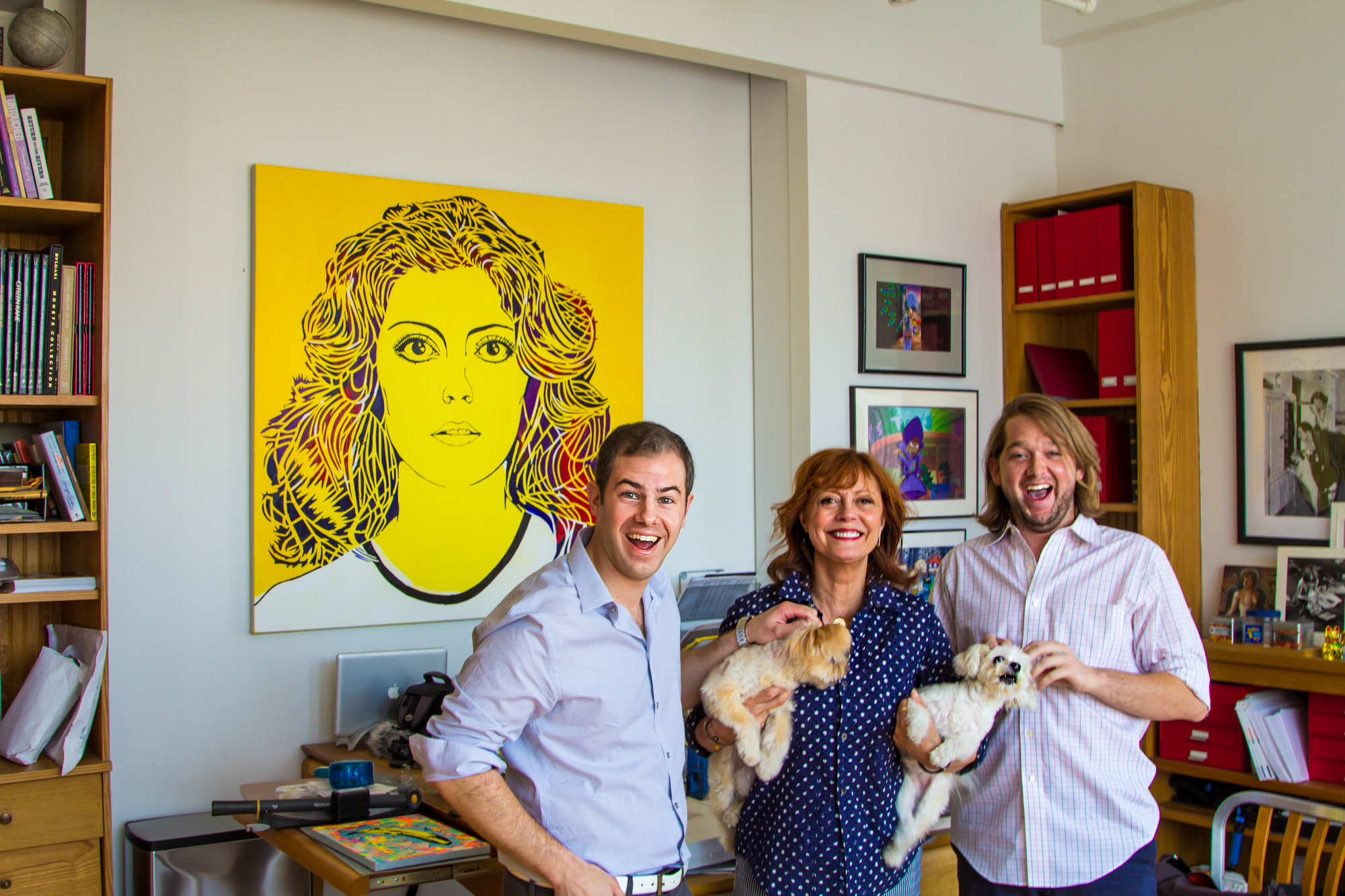 Delivery of Susan Sarandon's portrait. She loved it so much that it now hangs in her home office. Very honored :)