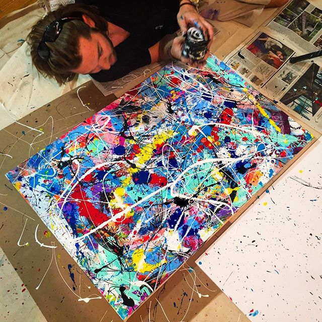 "I've literally been living in #VirtualReality for the past week painting a #trippArt universe. Back to real world! ""Splatter Dayzzz"" 30x40 #jacksonpollock #inspired #trippart #nyc #painting #HappyEaster!"