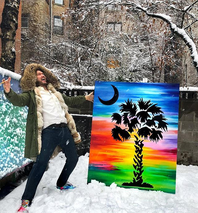 Maybe this will change the weather man's mind. Bring it on! 🌧☀️ Be on the look out 👀👀... planning a big NYC event... details to come 😎 #trippart #palmetto #neverendingwinter Keeping warm thanks to @mrmrsitaly thank you!  #art #artwork #painting #paint #oil #nycart