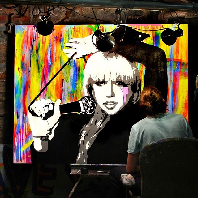 #Throwback to working on @ladygaga in the old studio 🚀🚀Completed right after her first single release off #ARTPOP #acrylics #oilpainting #popneoism #popart #gaga #trippart""