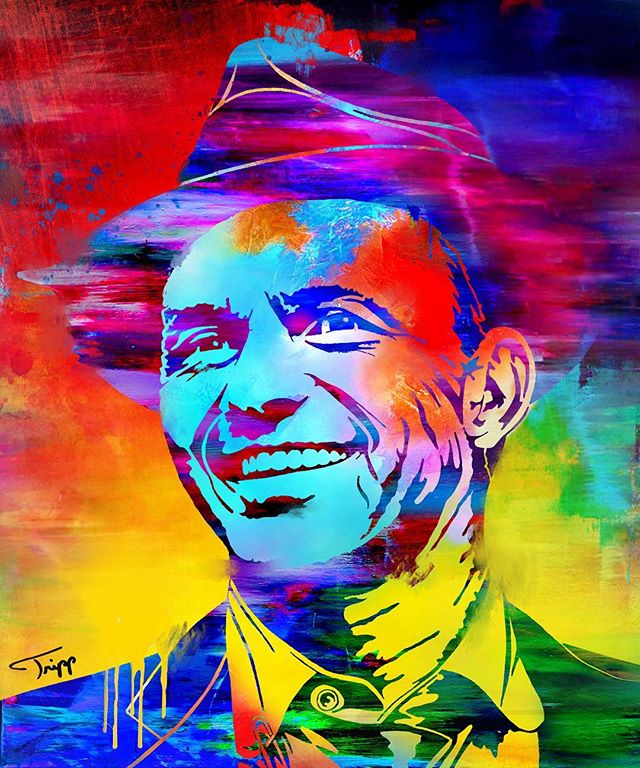 Like the new #remix on Frank? Hard at work preparing for a stellar #adventure 🧙🏻‍♂️🍭🚀 #franksinatra #art #squeggee #portrait #trippart