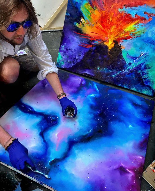 Get' N down in space! You'll literally be able to fly through this painting on May 17th in #VirtualReality. Event details in my bio link #NYC #painting #24/7 #oil #abstract #nebula #HOTLAVA