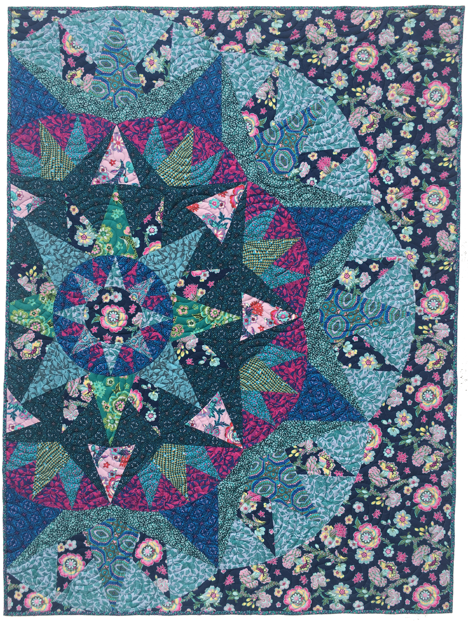 """Blossom Song Quilt 45""""x60"""" -Quilt made in a different colorway."""
