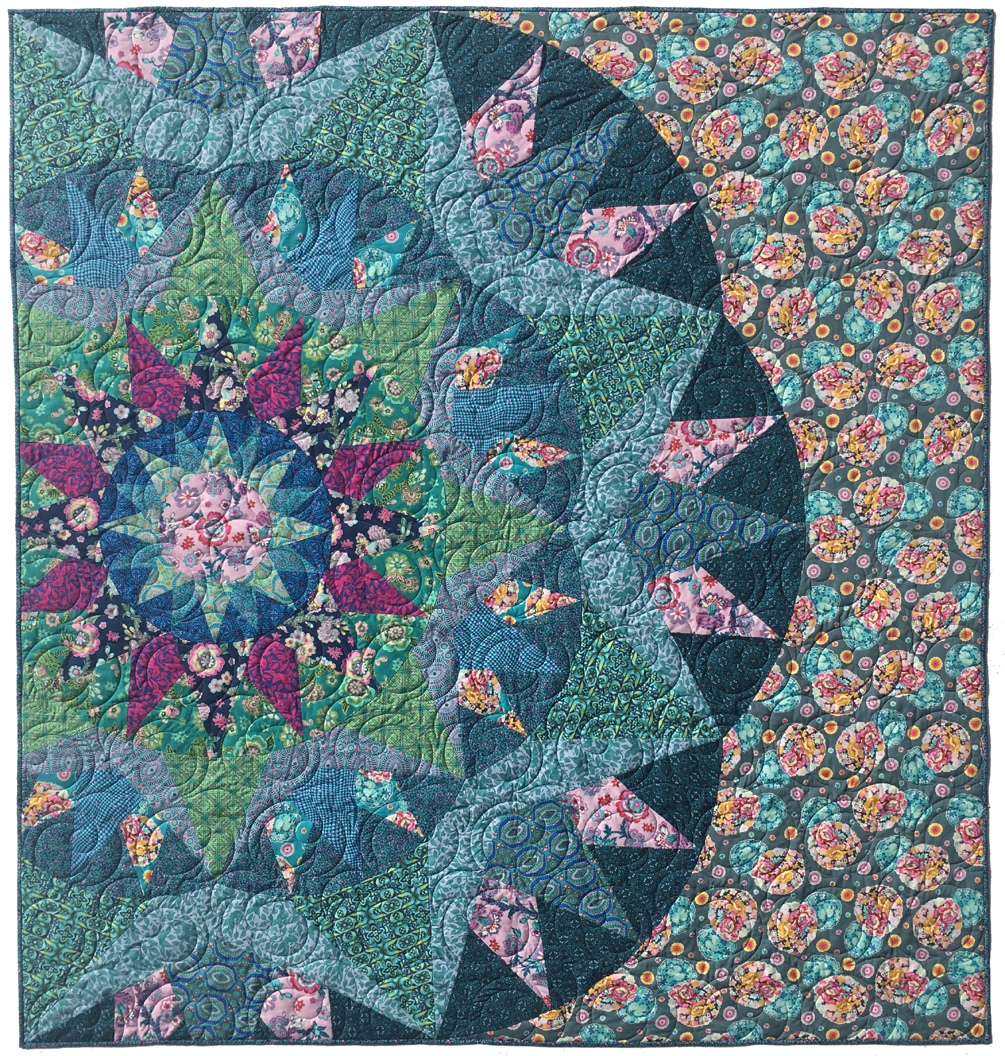 """Blossom Song 78""""x82"""" - Custom version quilt made for Amy's Quilt Market Booth."""