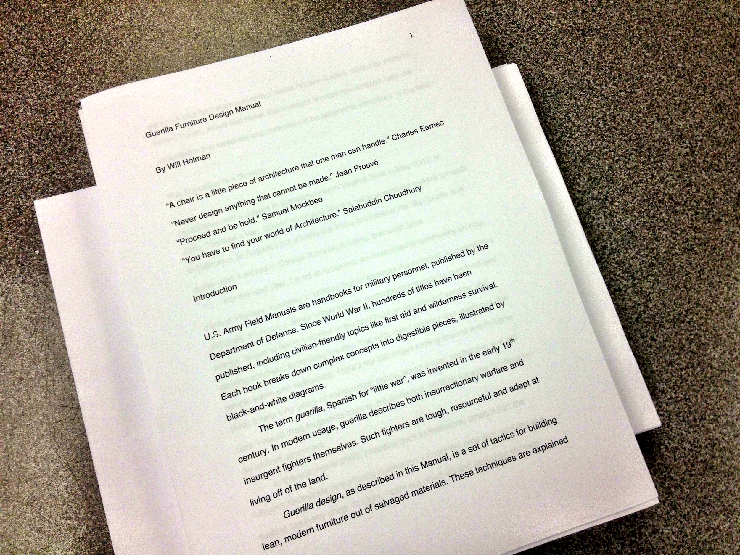 Two copies of the first draft, 233 pages each, roughly 41,000 words.