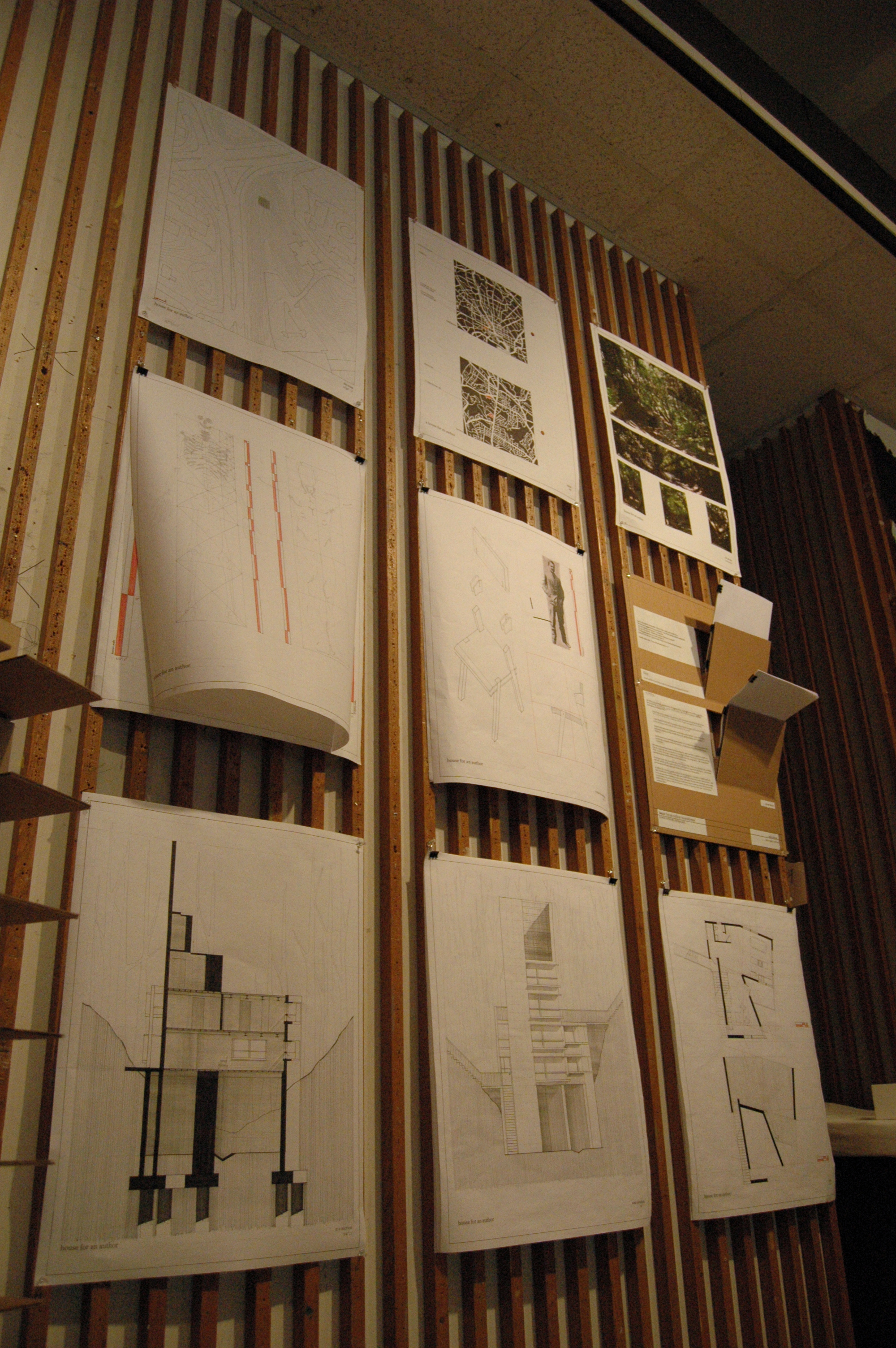 My thesis in architecture school was a house for an author. Some of my writing (and my rejection letters) were part of my pin-ups, visible here in the middle row, all the way to right.
