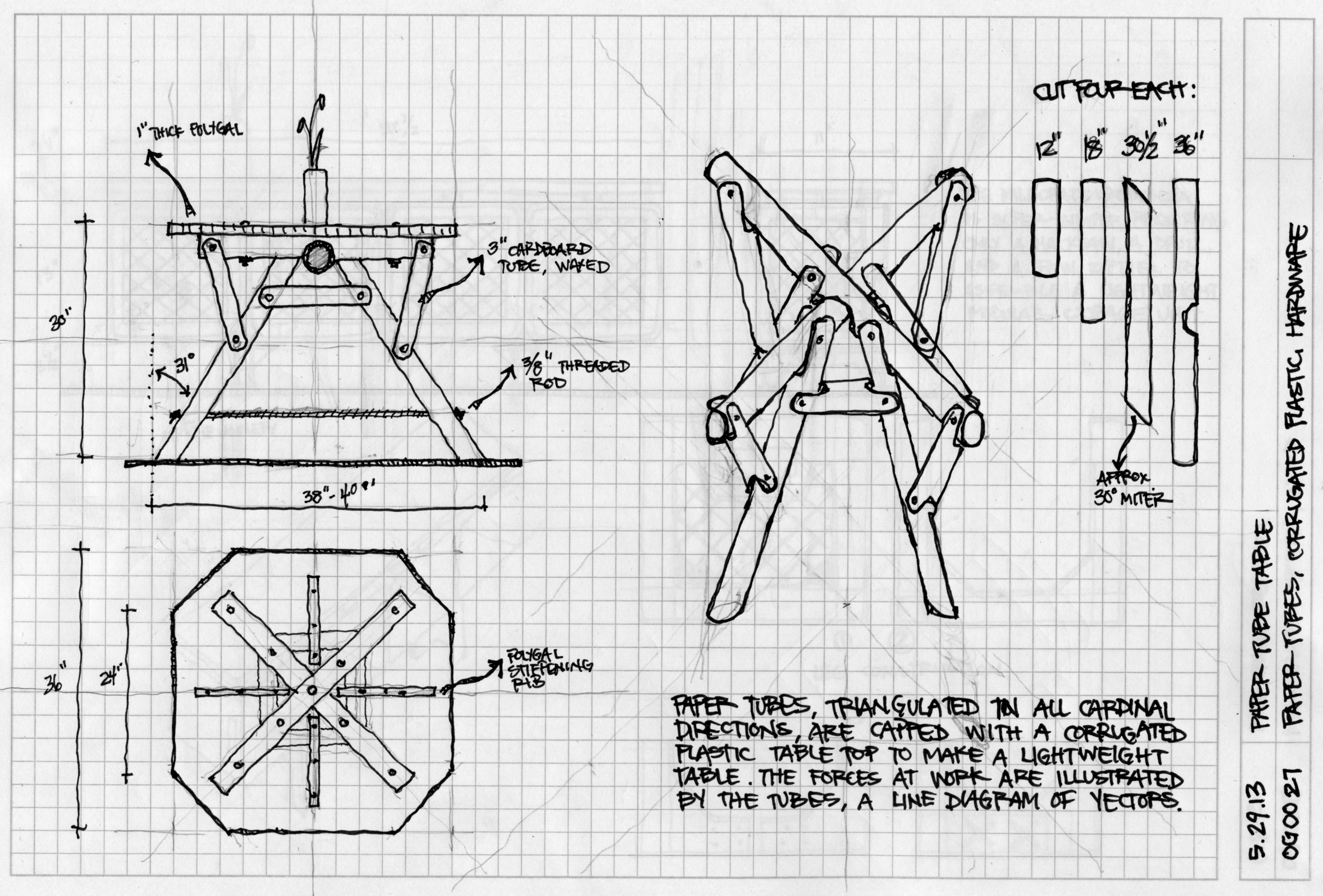 Reference sketch for the Paper Tube Table.