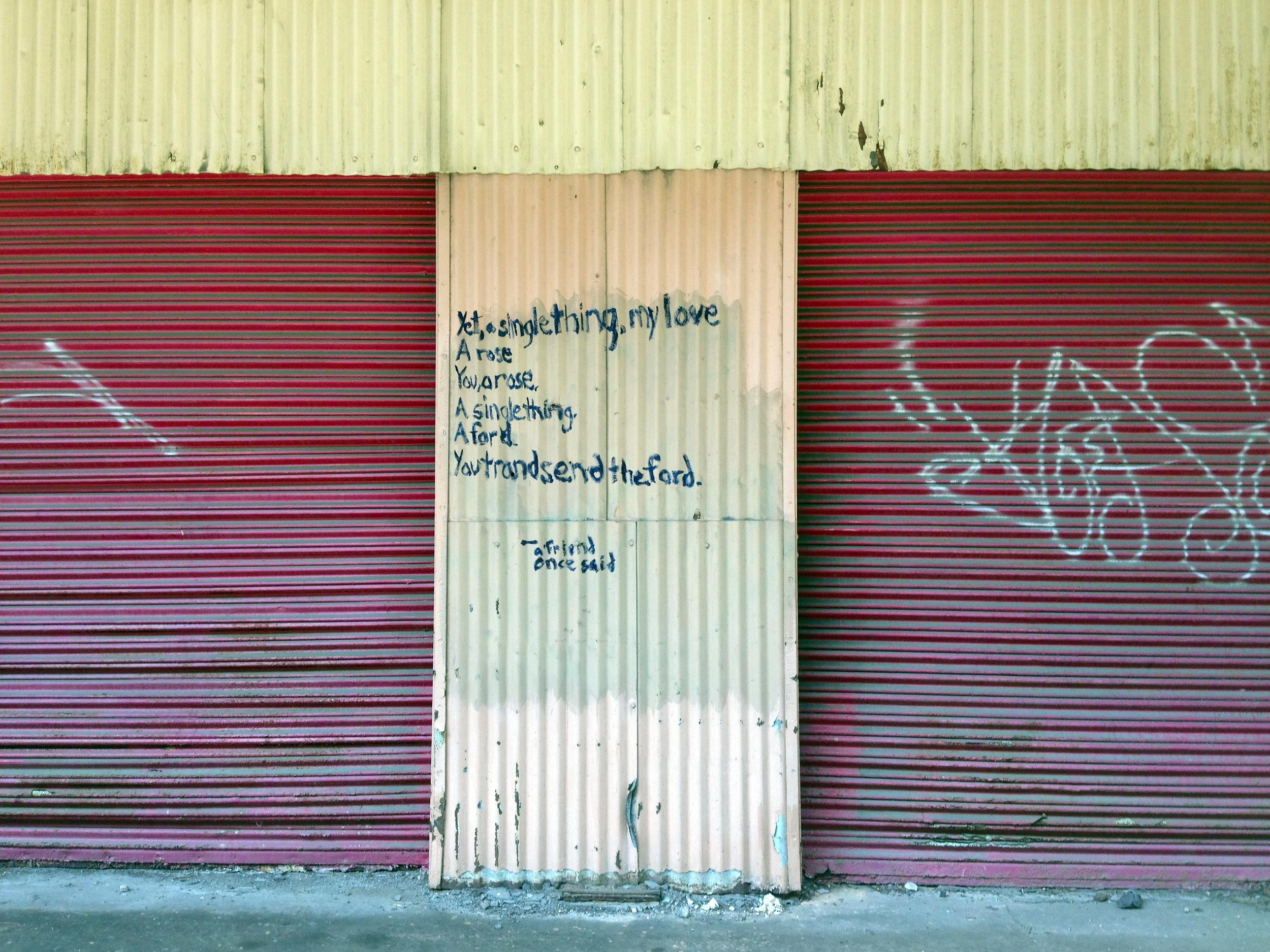Graffiti on the museum's unused warehouse.