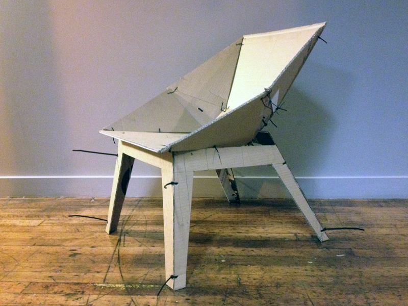 My first full-scale mock-up. Looked far too much like any number of faceted and zip-tie chairs already out there in the wilds of the internet, though the profile is rather handsome.
