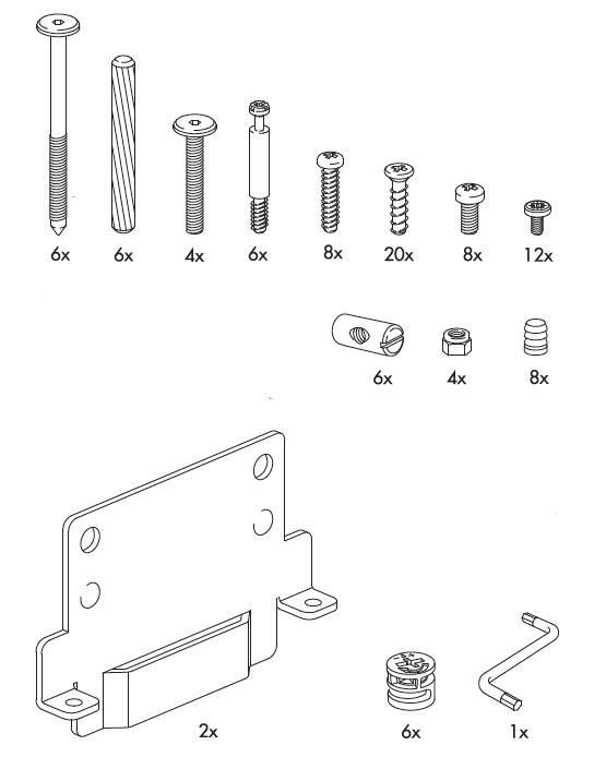 Hardware for the Hopen Bed, via  Swedish Furniture Parts . Represents major basic hardware sub-systems.