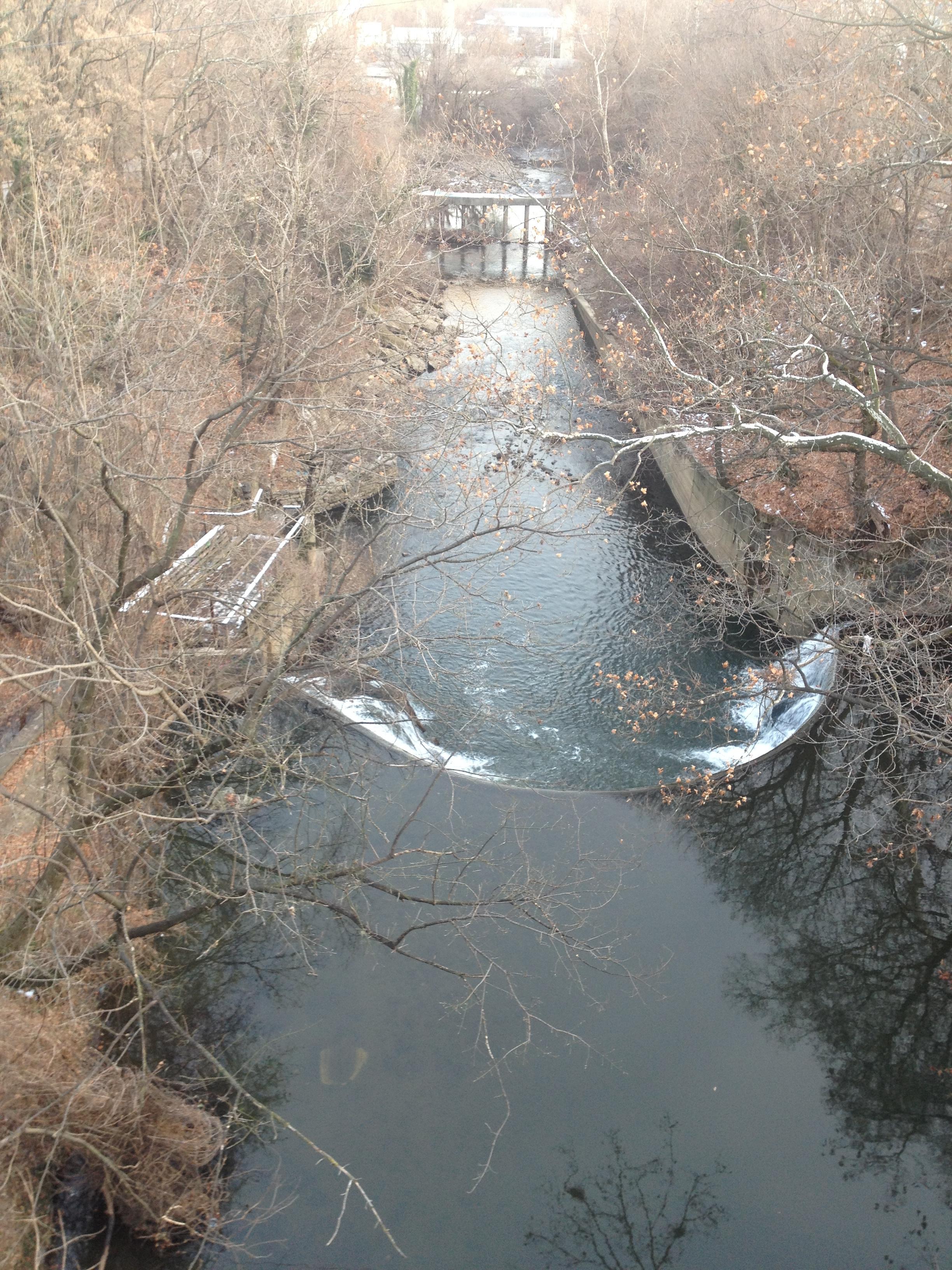 Jones Falls from above, taken from a bridge where few pedestrians dare tread.
