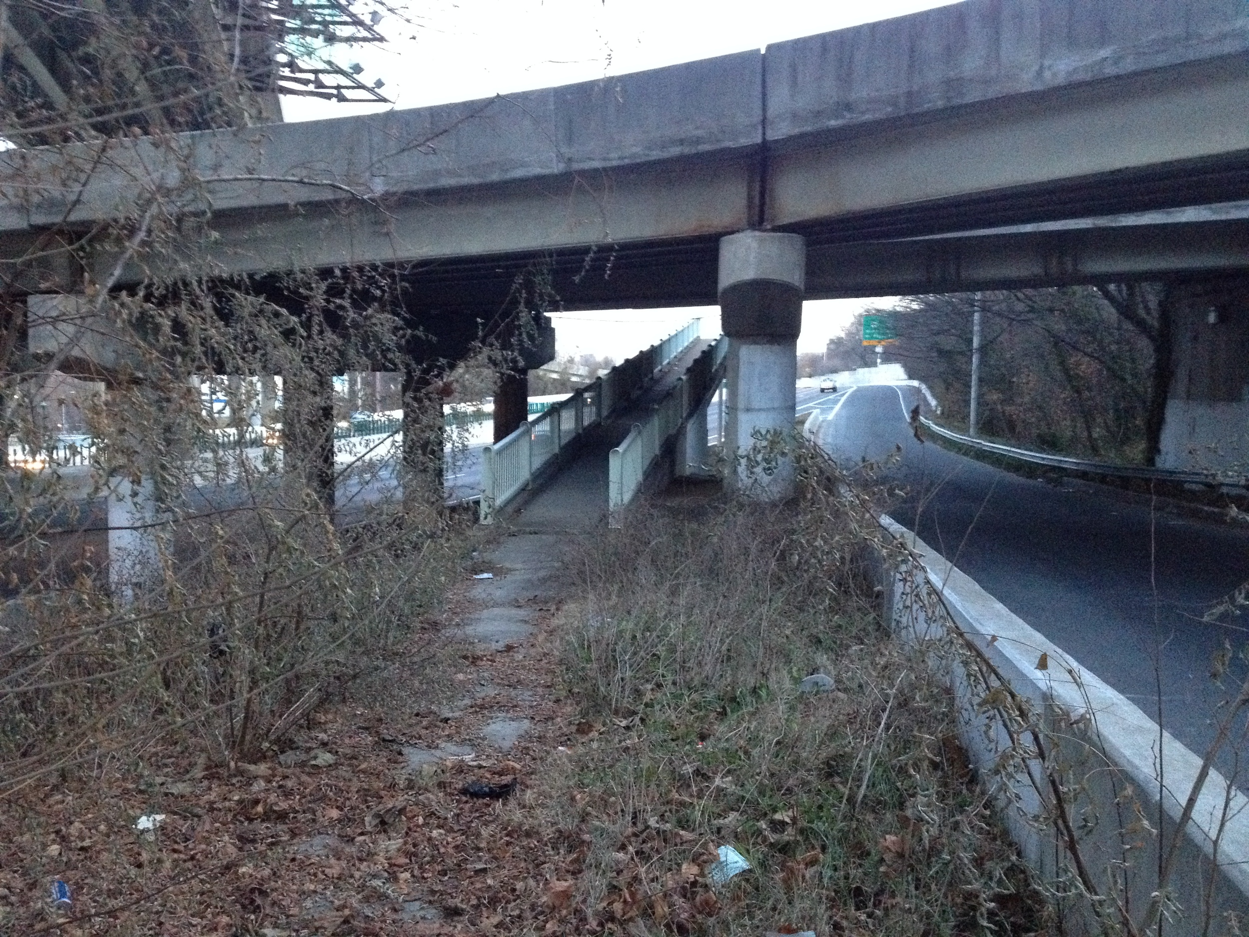 Said walkway dead-ends, without explanation, on a wedge of land marooned within the highway. Surrounded on all sides by traffic, buried river underfoot, nowhere to go but back the way I came . . .