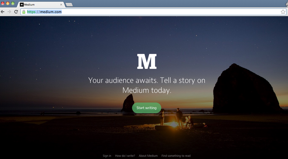 Medium homepage. If you login, the homepage appears as a long feed of articles from sources you are following.