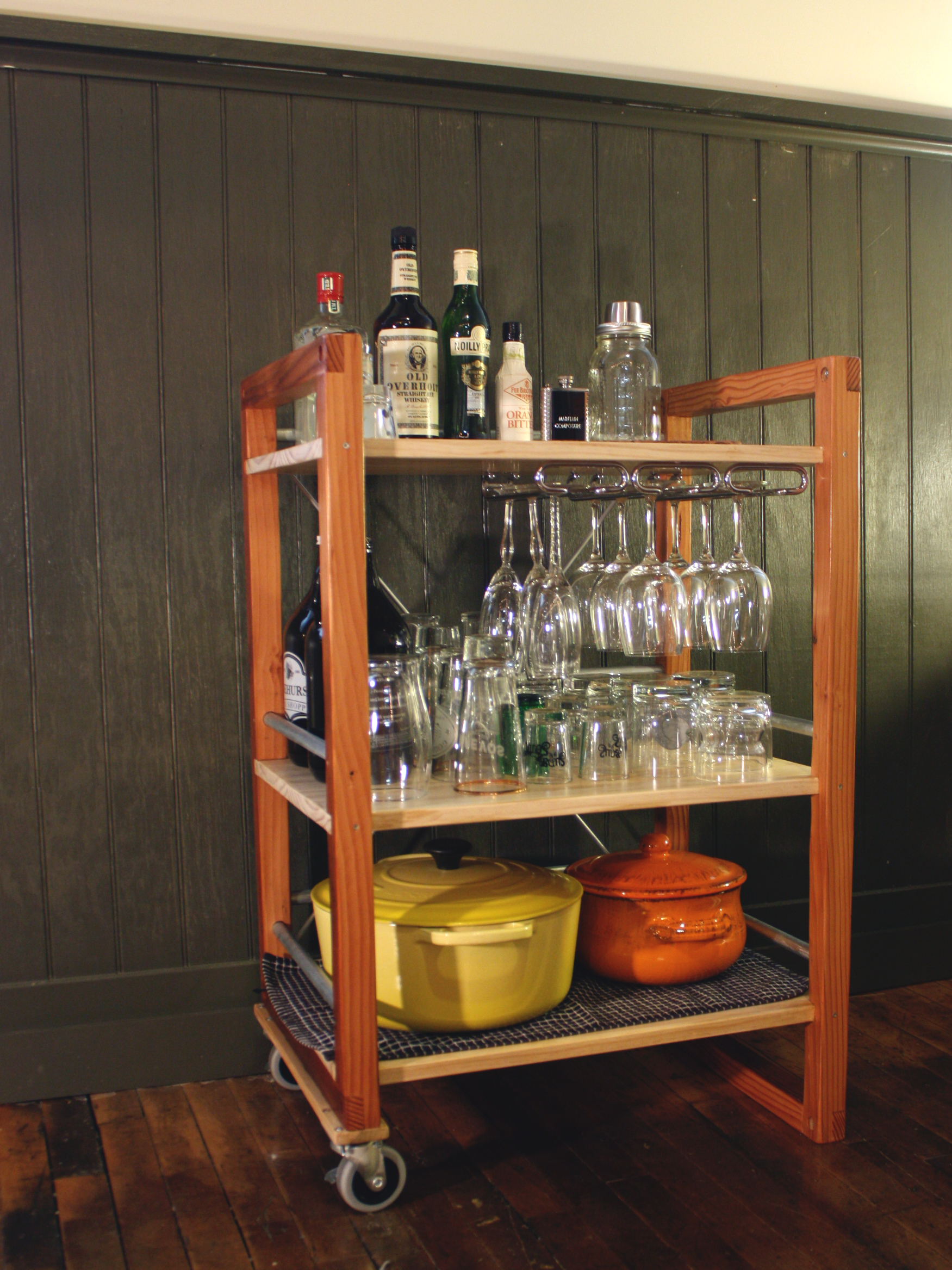 Space between shelves was determined by dimensions of barware.