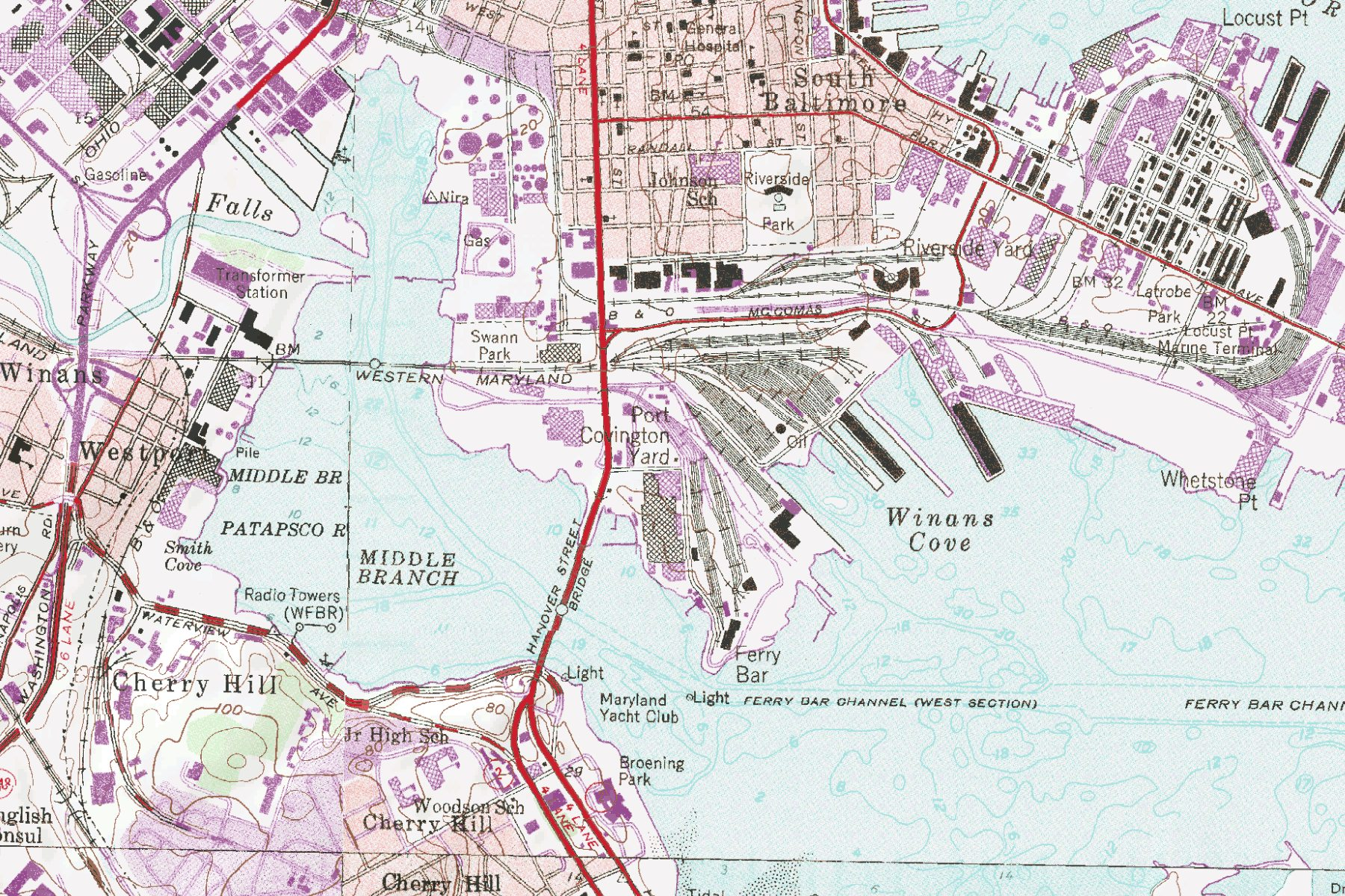 Map via  Western Maryland Railroad fan site. Modern-day Port Covington is the railroad-covered tract to the left and above Winans Cove.