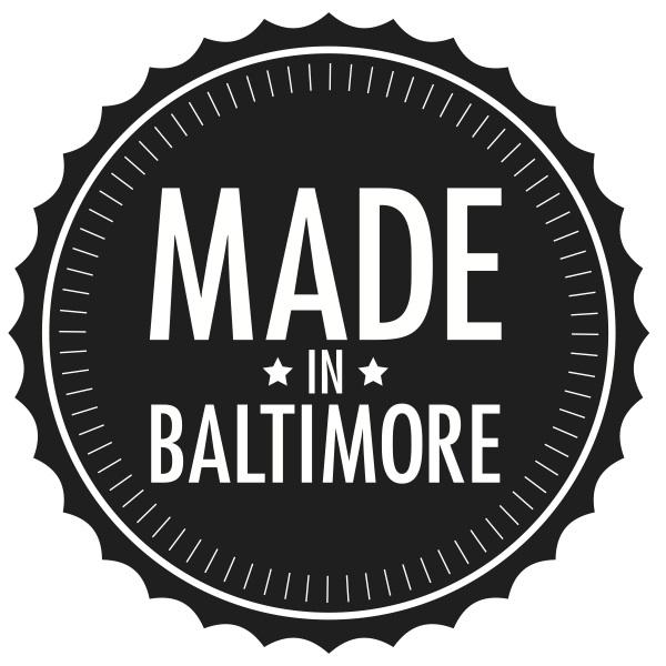 Made in Baltimore logo by  Elizabeth Eadie .