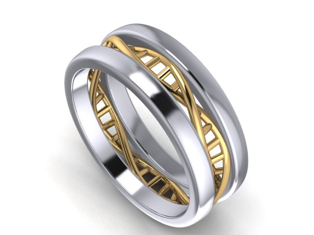 Platinum and 18k yellow gold DNA ring.