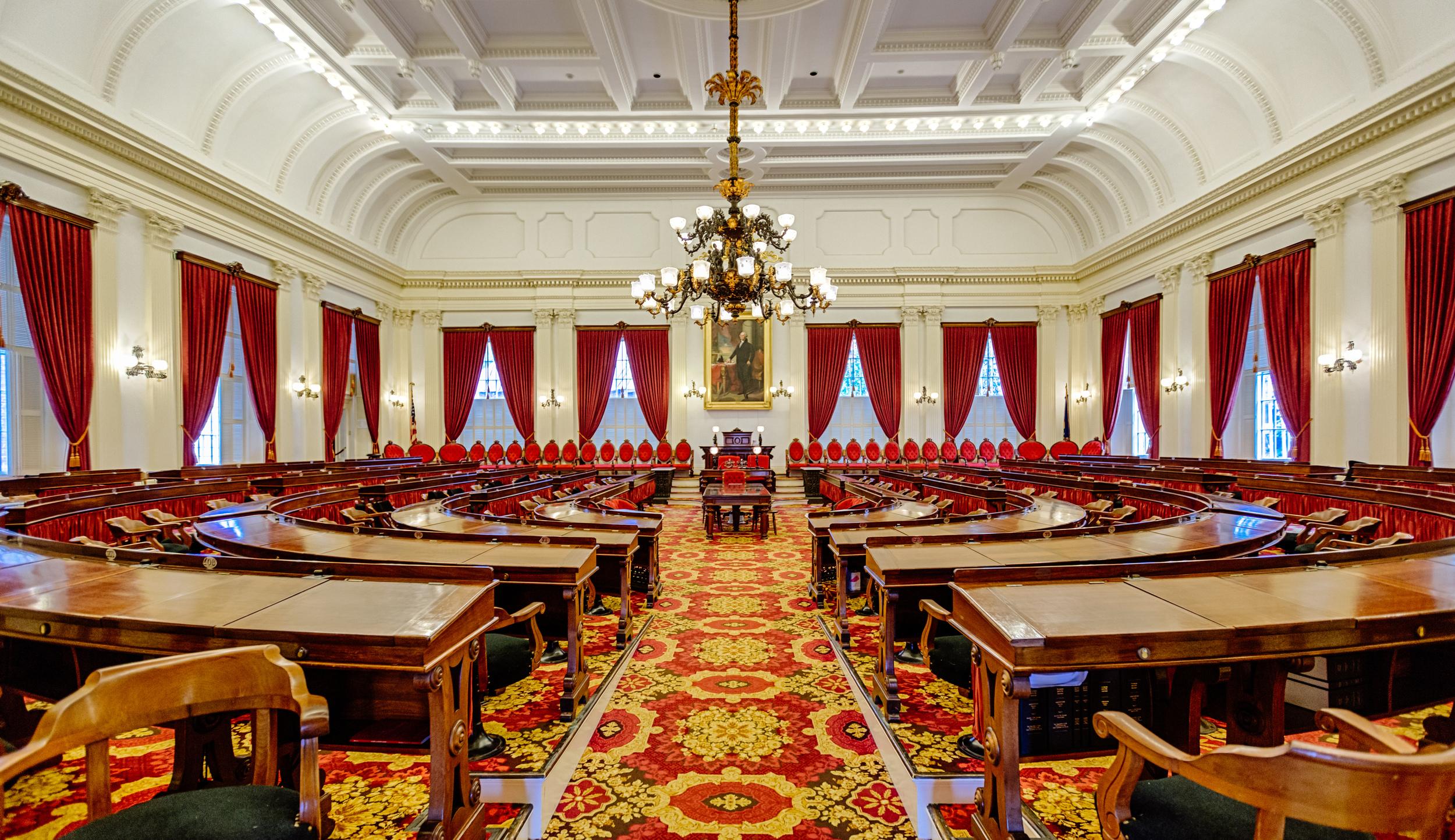Senate Chamber inside Vermont's State House