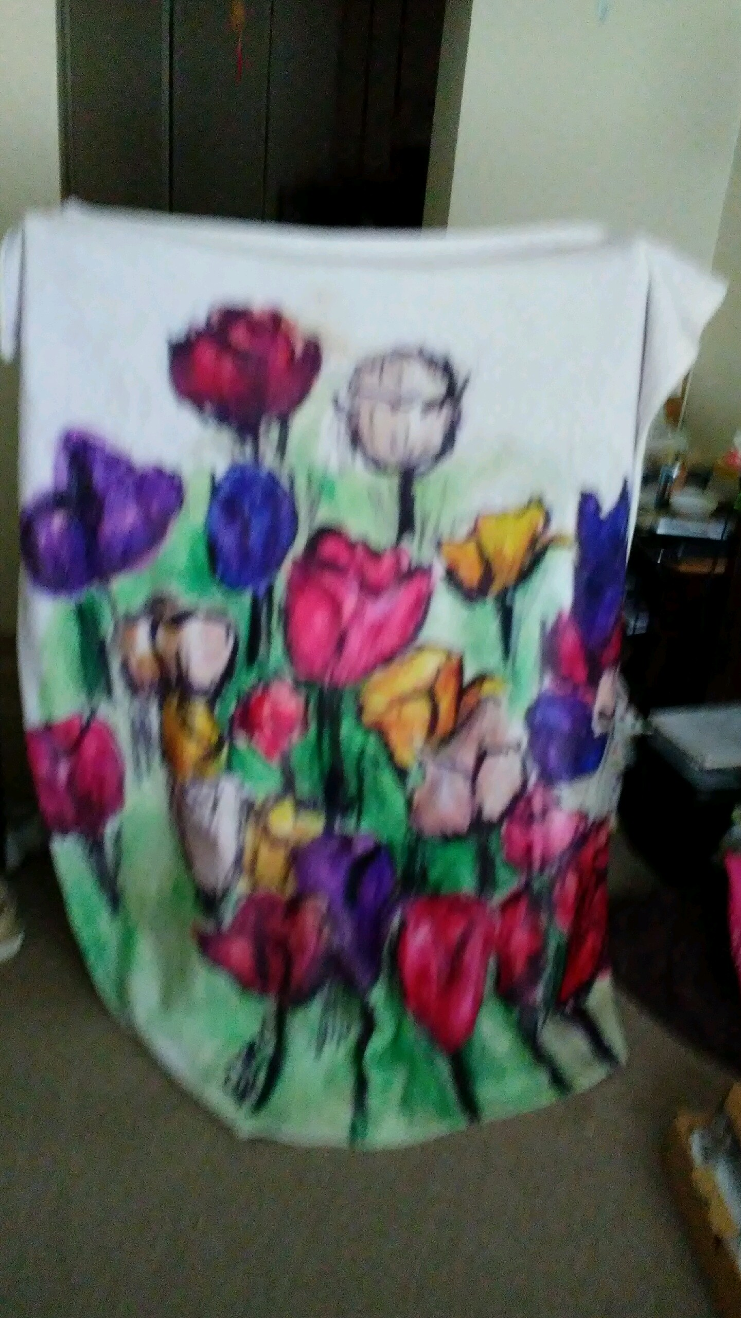 Throw Blanket with Tulip bed flowers