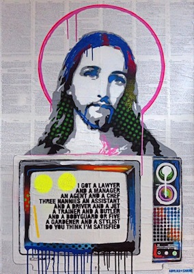Jesus TV   (70 x 100 cm)   Price €1200  Spray paint and collage on canvas