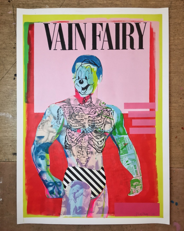 VAIN FAIRY   (102 x 72 cm)  Price:  €800  Acrylic and screen print on paper