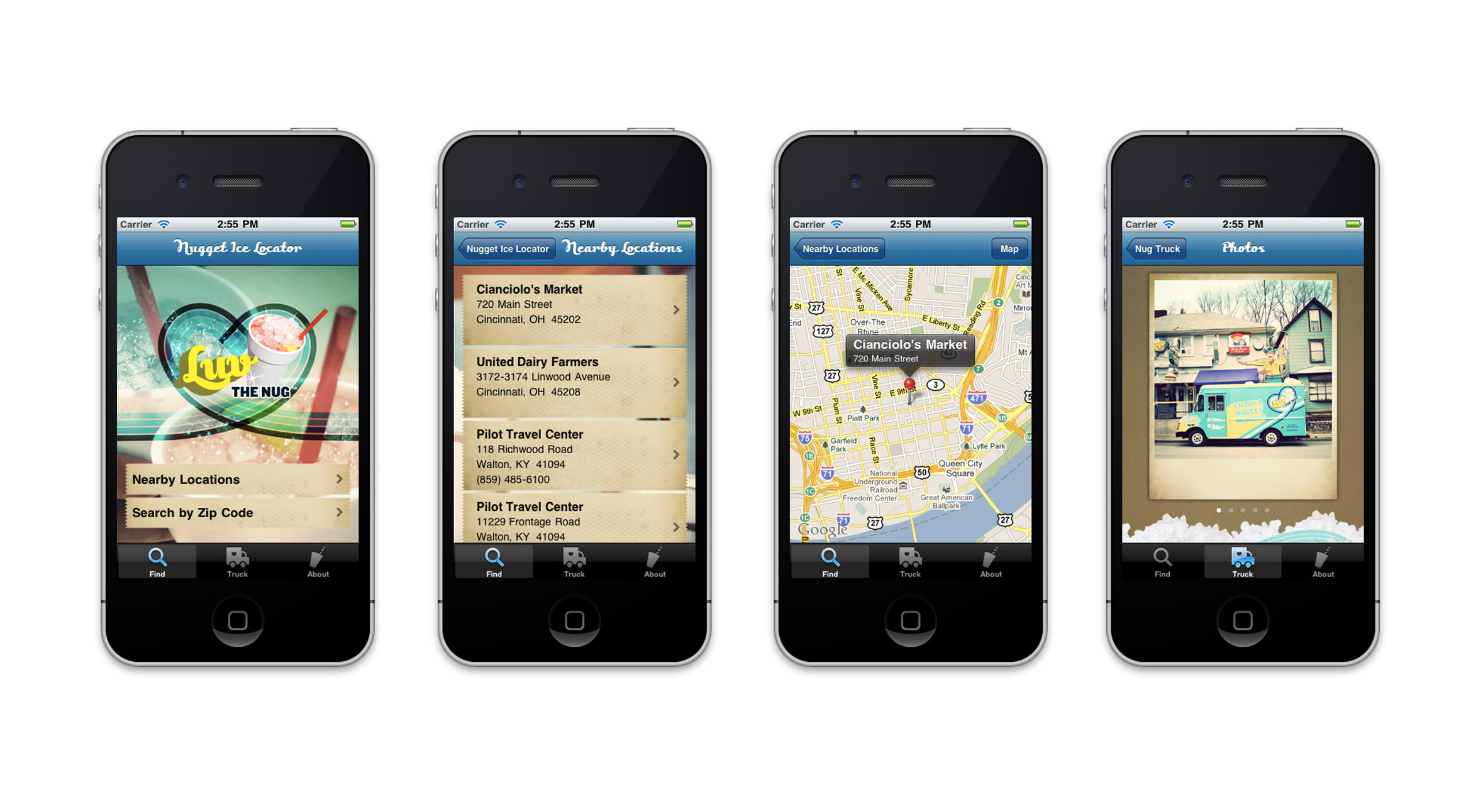 Nugget Ice Locator App - Strategy, Art Direction, UX + UI