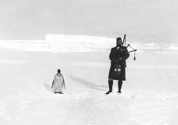Piper Kerr (left), a member of the Scottish National Antarctic Expedition, plays the bagpipes to an indifferent penguin, 1904.  Wikipedia