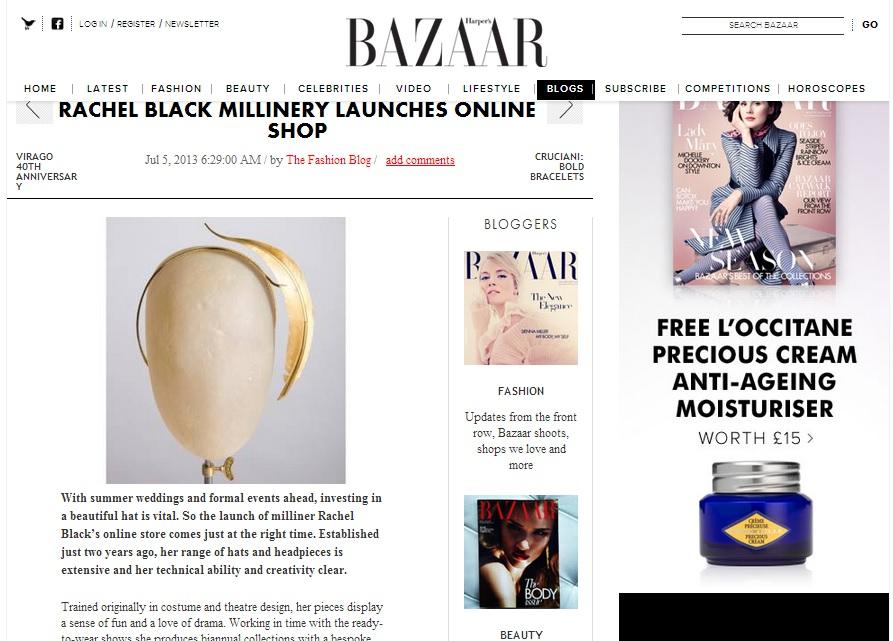 Harper's Bazaar UK Blog, July 2013