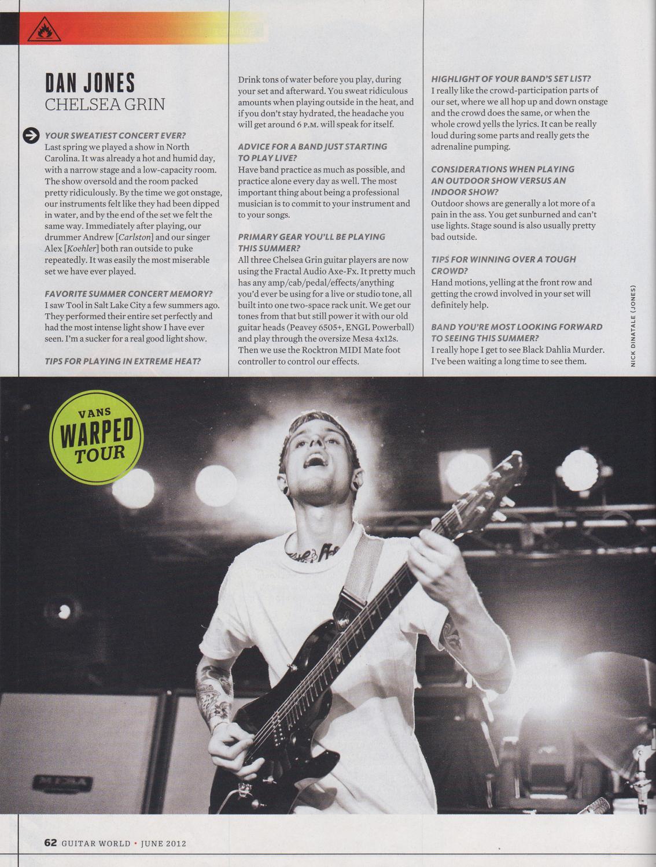 Guitar World - June, 2012  Summer Tour Spectacular ,pg. 62