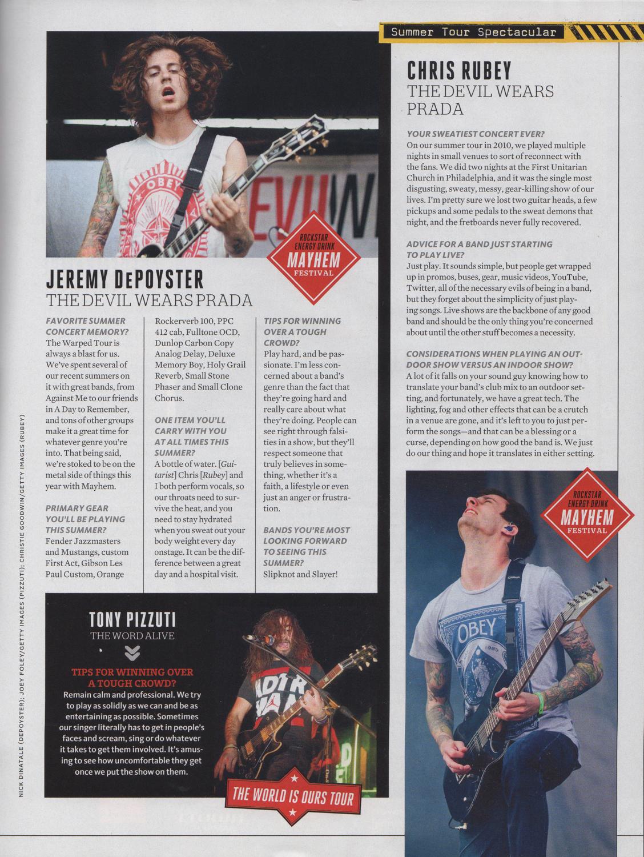 Guitar World - June, 2012  Summer Tour Spectacular ,pg. 63