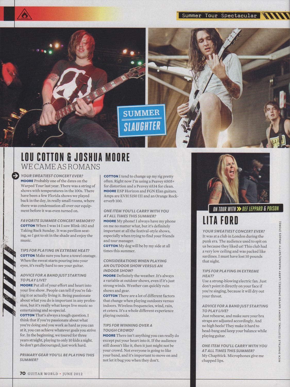 Guitar World - June, 2012  Summer Tour Spectacular ,pg. 70