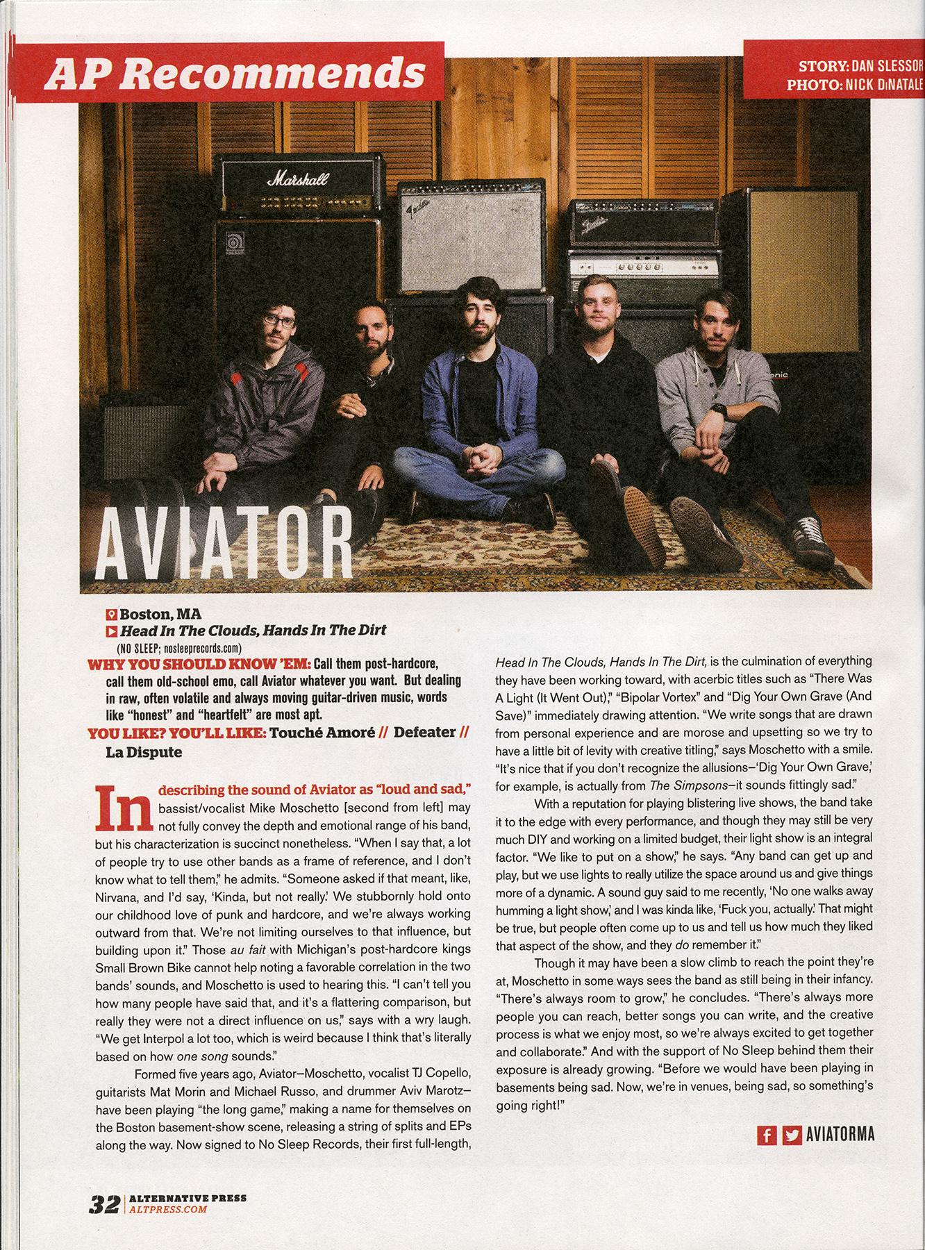 Alternative Press 319 - February, 2015  AP Recommends  Aviator, pg. 32