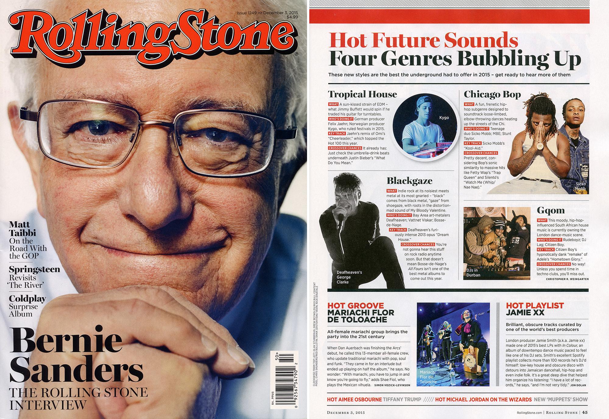 Rolling Stone Issue 1249 >> December 3, 2015 Hot Future Sounds - Blackgaze (Deafheaven's George Clarke), pg. 45