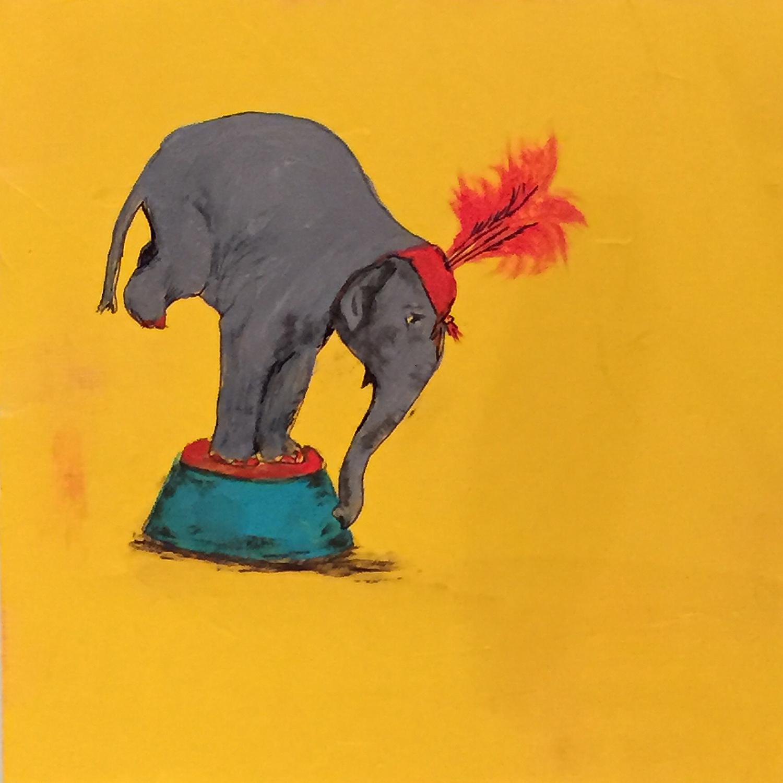 "Balancing Elephant . Acrylic on board. 8""x8""x1.5"". $350."