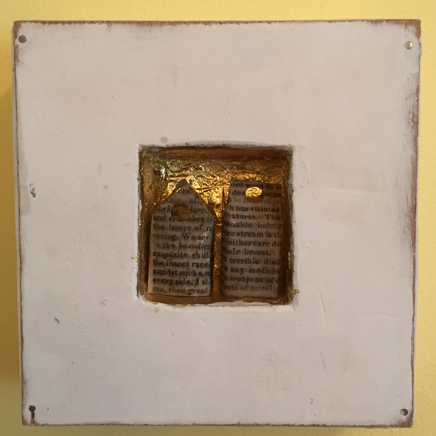 """Tiny Book Page Houses . Limestone clay, acrylic, 24k gold leaf on board. Tiny houses made from old book pages. 5""""x5""""x2"""". $150."""
