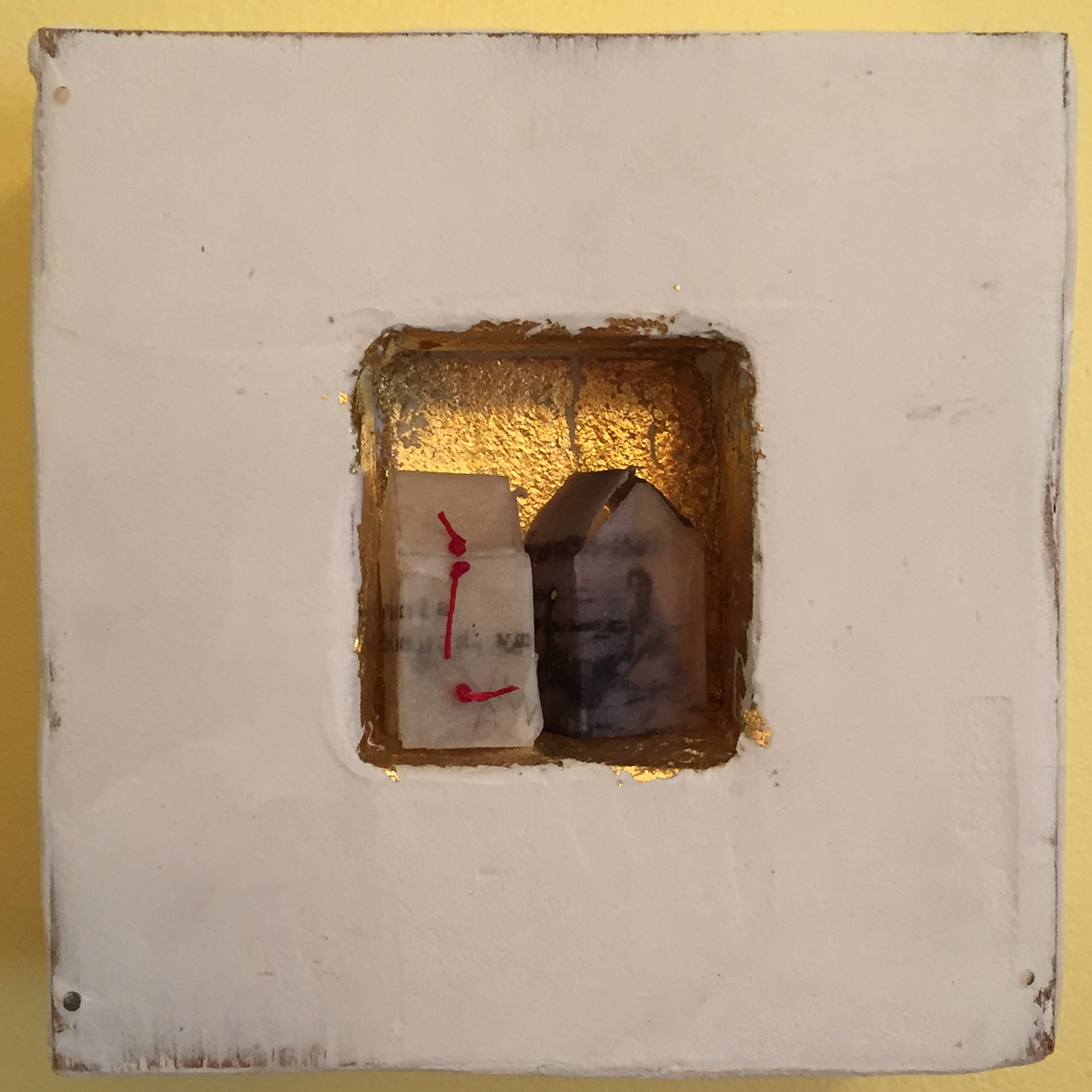 """At the Beach with Mama . Limestone clay, acrylic, 24k gold leaf on board. Tiny houses made from typewritten phrase and familyphoto printed on handmade paper dipped in beeswax. 5""""x5""""x2"""".  SOLD"""