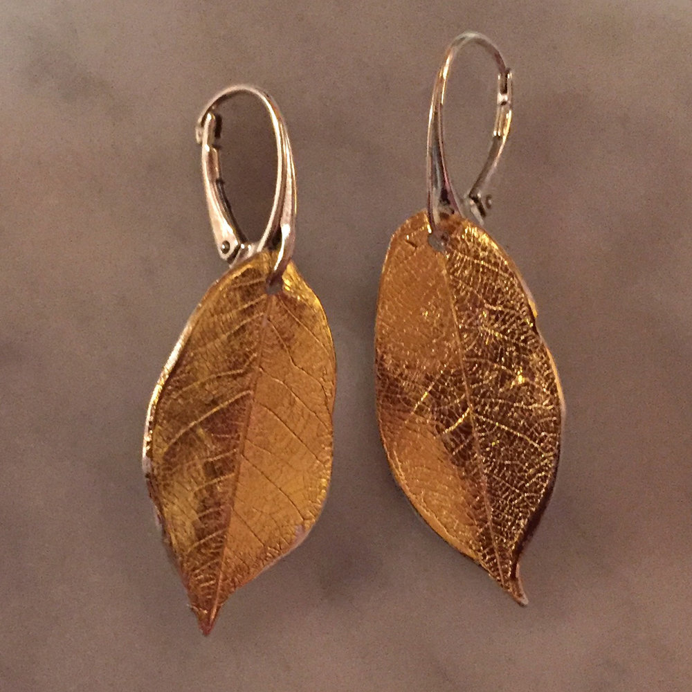 Silver and Gold Skeleton Leaf Earrings