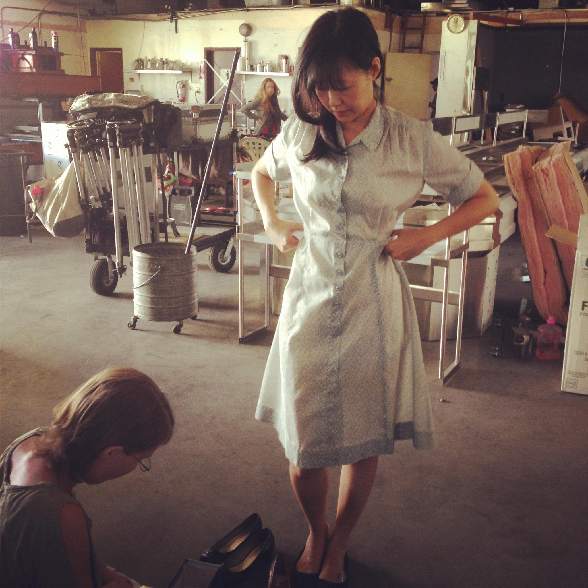 Elaine, first day wardrobe fitting.